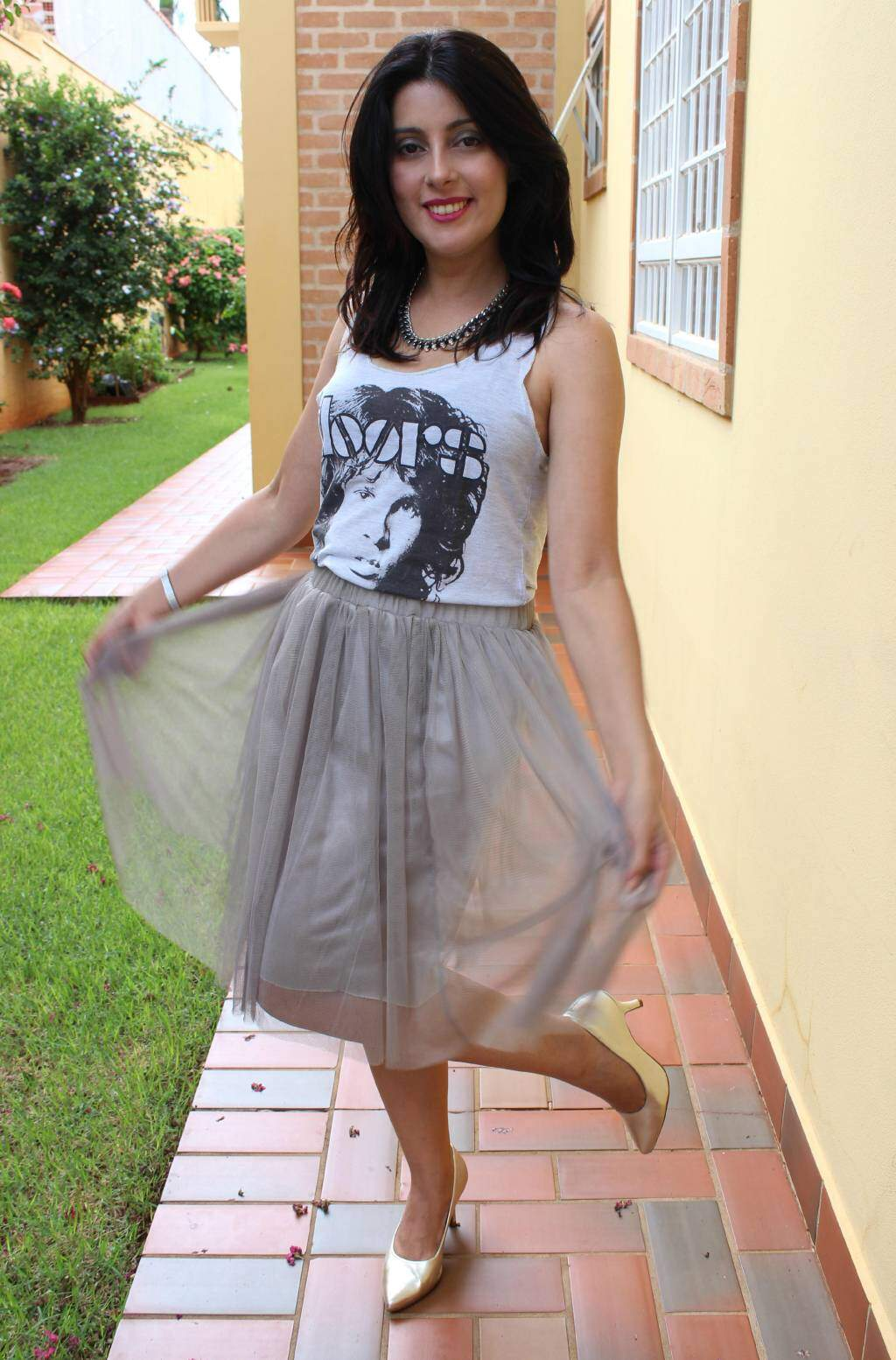 look do dia_saia de tule_camiseta the doors_blog el ropero