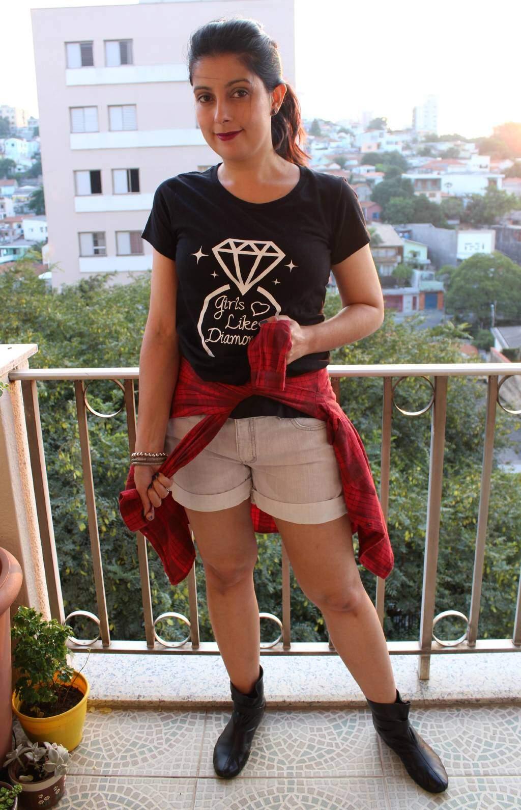 Look_camisa xadrez_shortjeans_bota cano curto_blog el ropero