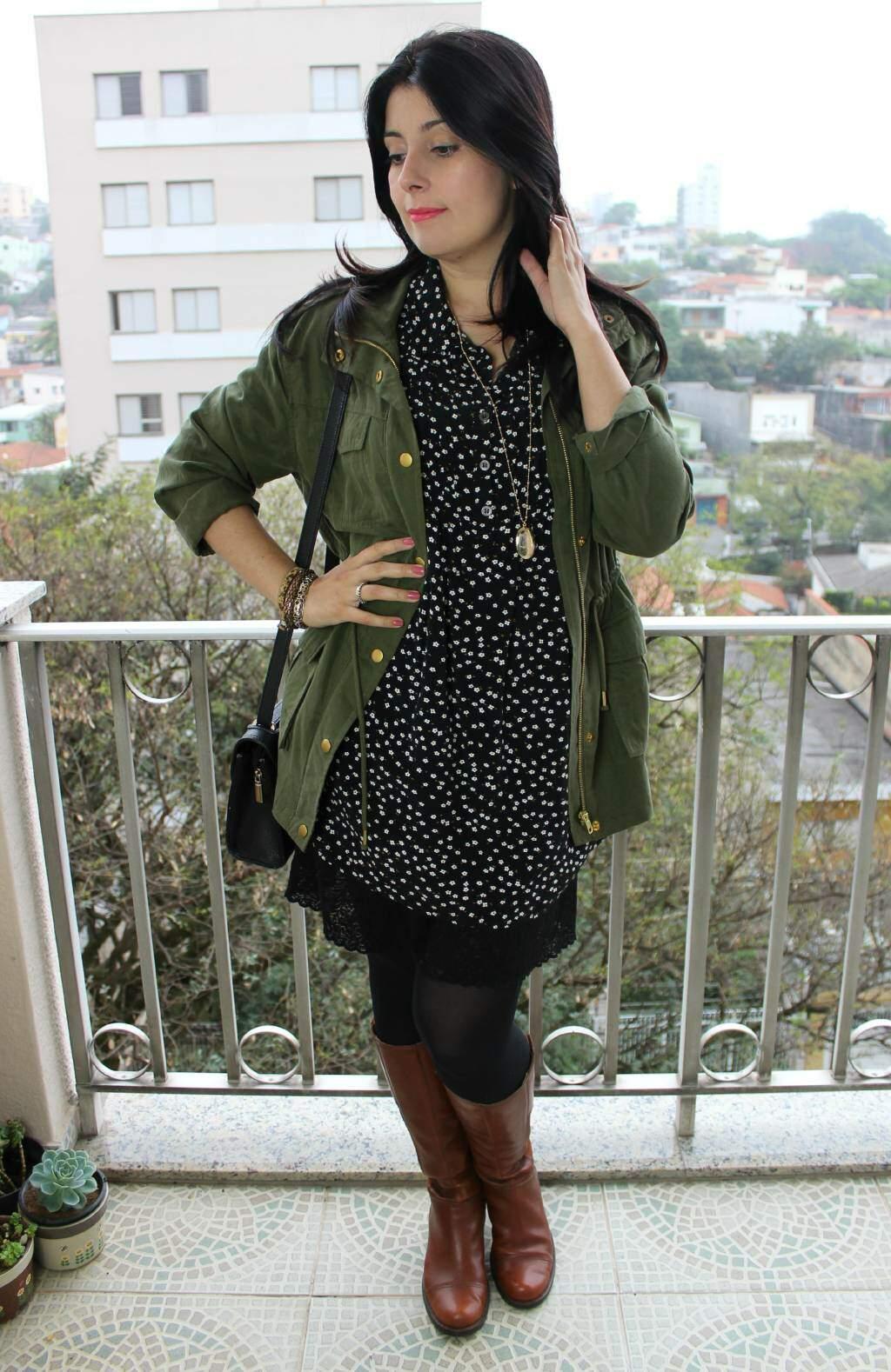 Look_parka e vestido_bota cano alto