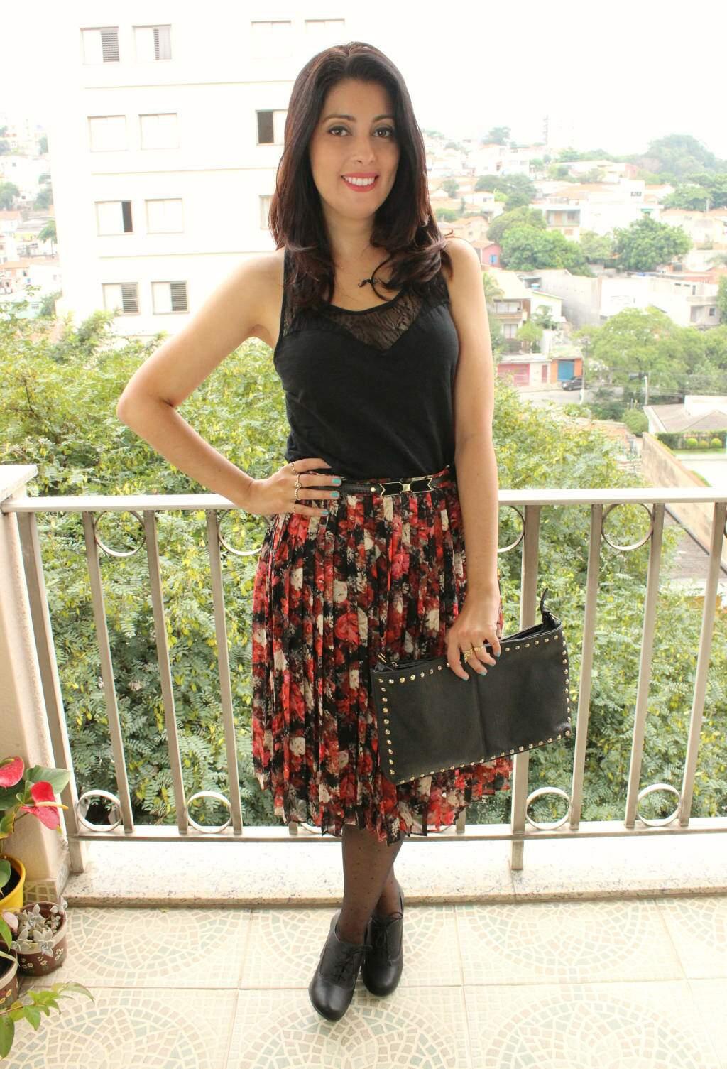 Look_saia midi plissada_floral_oxford_blog el ropero