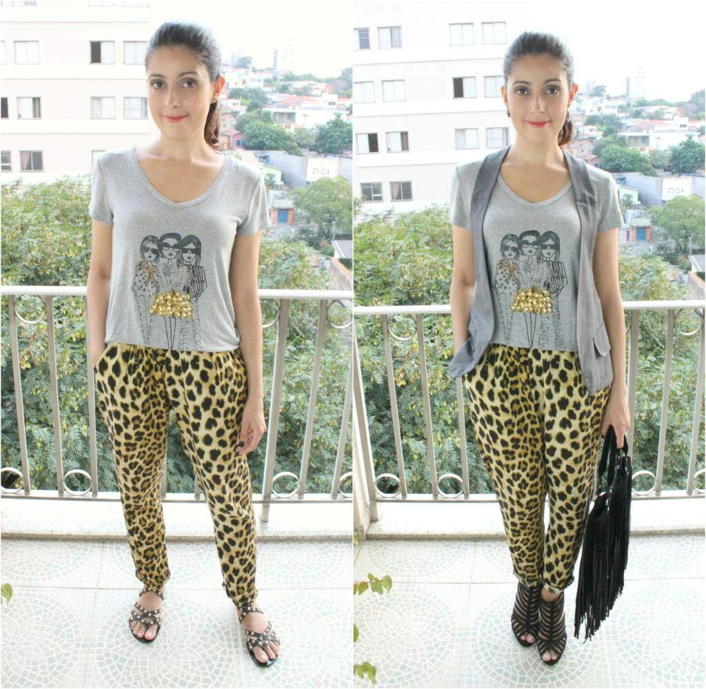 Look_calça animal print_camiseta com estampa_blog el ropero