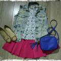 fashion set_look do dia_saia pink e colete jeans_blog el ropero_juliana sena